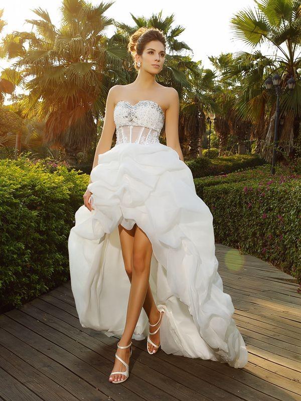 Corte en A/Princesa Escote de Corazón Abalorios Sin Mangas Asimétrico Organza Vestidos de Novia