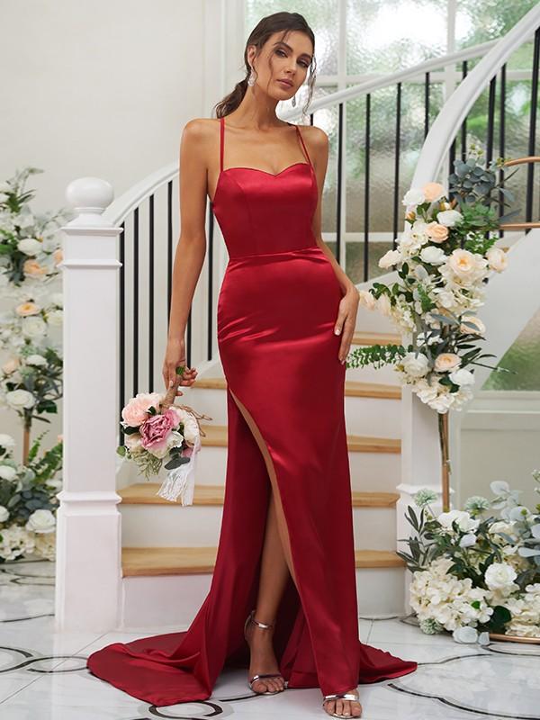 Sheath/Column Elastic Woven Satin Ruched Square Sleeveless Sweep/Brush Train Bridesmaid Dresses