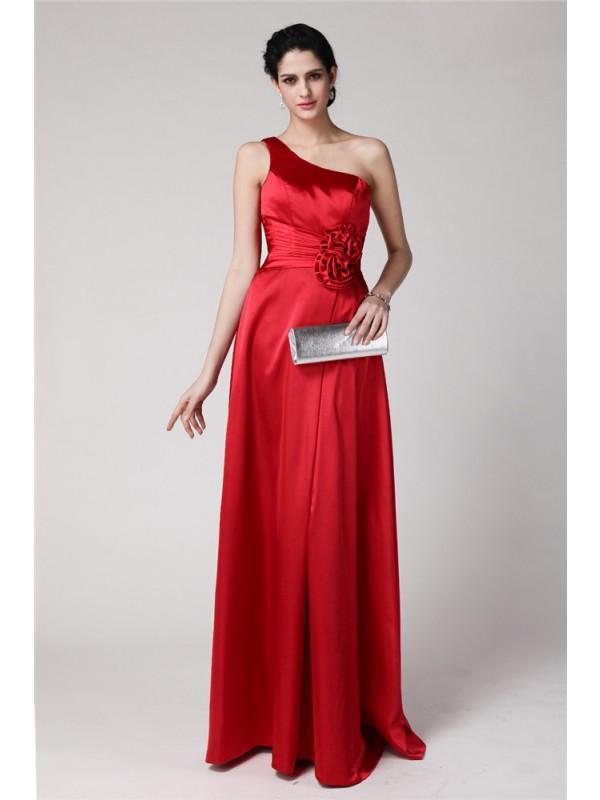 Ajustado/Tipo Columna Un solo Hombro Sin Mangas Plisado Flores hechas a mano Largo Satén Elástico Vestidos de dama de honor