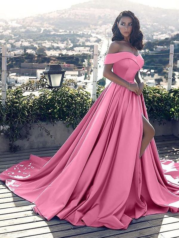 Corte en A/Princesa Sin Mangas Hombros Caídos Volantes Satén Cola de Corte Real Vestidos