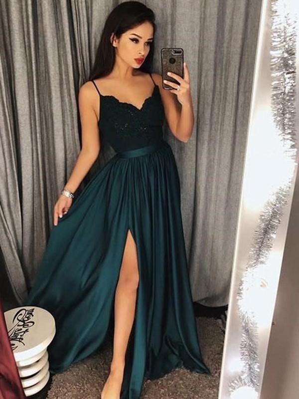 Corte en A/Princesa Tirantes Espagueti Sin Mangas Hasta el Suelo Encaje Satén imitación Seda Vestidos
