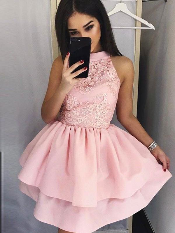 Corte en A/Princesa Encaje Escote Joya Sin Mangas Satén Corto/Mini Vestidos