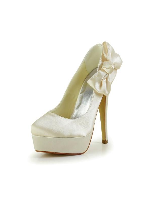 De las mujeres Satén Tacón de Aguja Punta Cerrada Plataforma Champagne Zapatos de boda Con Lazos