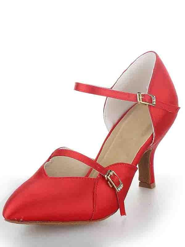 De las mujeres Tacón de Aguja Satén Punta Cerrada Buckle Zapatos de baile