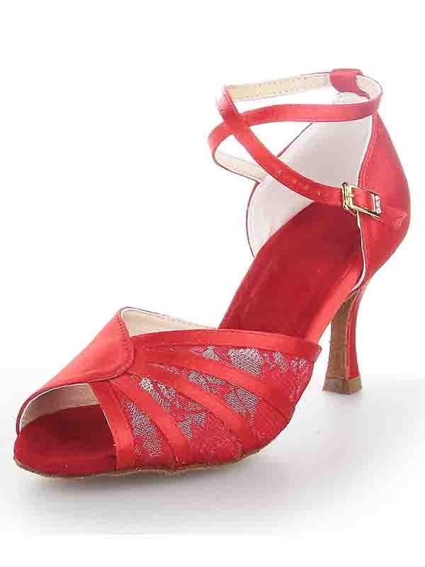 De las mujeres Tacón de Aguja Satén Zapato Abierto por Delante Buckle Zapatos de baile