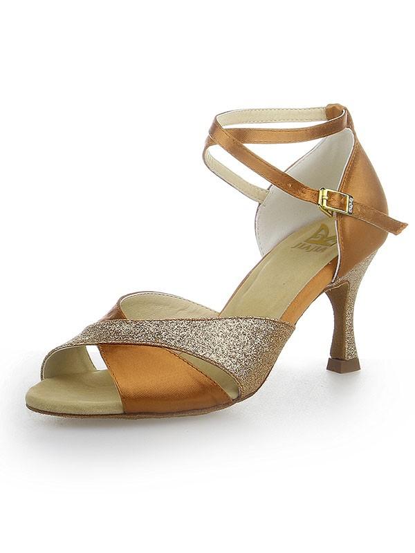 De las mujeres Zapato Abierto por Delante Sparkling Glitter Satén Tacón de Aguja Zapatos de baile