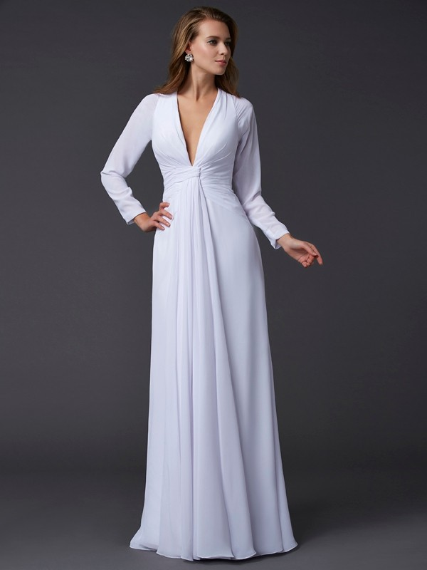Vestido de gasa manga larga
