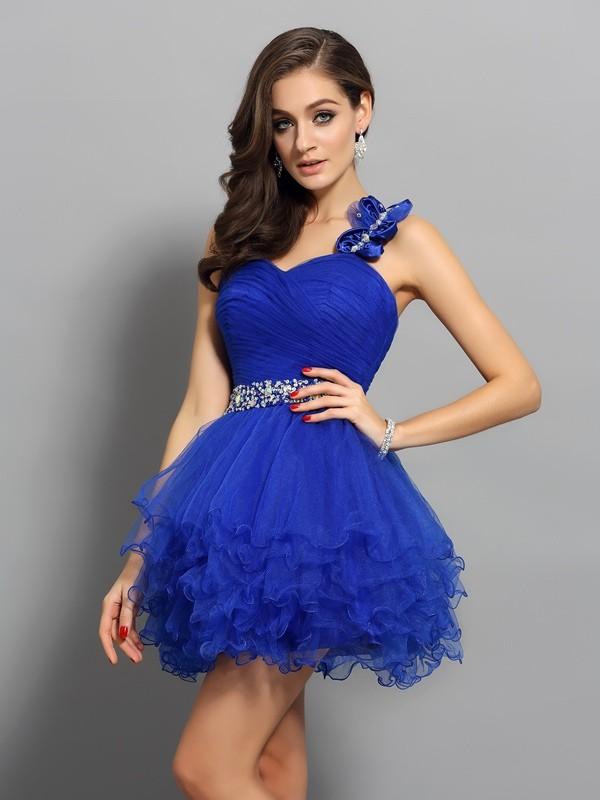 d6834204a Corte en A Princesa Un solo Hombro Abalorios Sin Mangas Corto Organza  Vestidos de cóctel