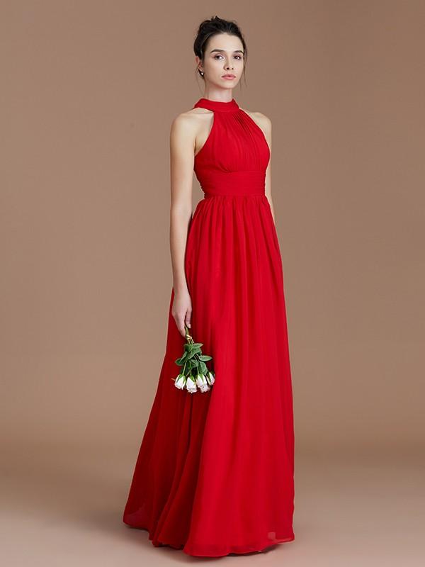 53371658006 ... A-Line Princess Halter Sleeveless Ruched Floor-Length Chiffon  Bridesmaid Dresses