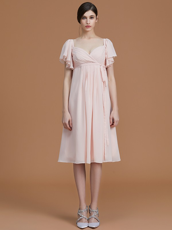 cce76a748d ... Empire Sweetheart Short Sleeves Knee-Length Ruched Chiffon Bridesmaid  Dresses ...