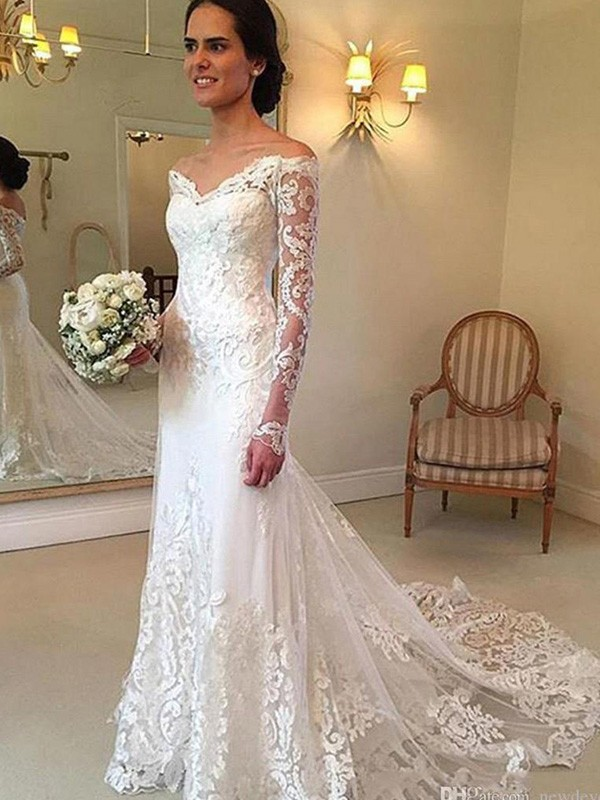 c09df6329 ... Hombros Caídos Cola de Corte Real Manga Larga Apliques Encaje Vestidos  de Novia. Trumpet Mermaid Off-the-Shoulder Court Train Long Sleeves  Applique Lace ...