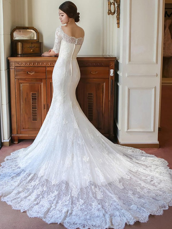 fc97e558633 ... Trumpet/Mermaid 1/2 Sleeves Square Cathedral Train Applique Lace  Wedding Dresses