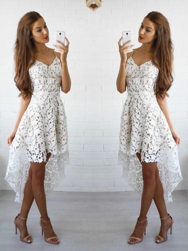 Corte en A Princesa Sin Mangas Tirantes Espagueti Encaje Corto Mini Vestidos 107f2394c99b