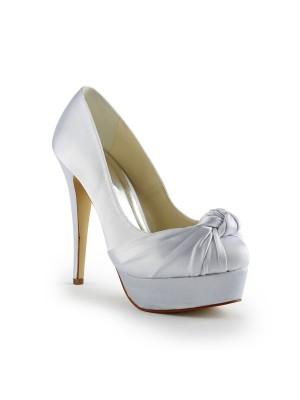 De las mujeres Gorgeous Satén Tacón de Aguja Pumps Con Ruched Blanco Zapatos de boda