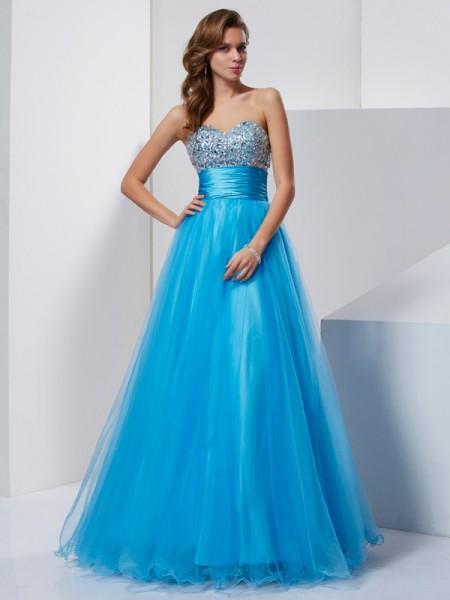 Corte en A/Princesa Escote de Corazón Sin Mangas Abalorios Largo Tul Vestidos