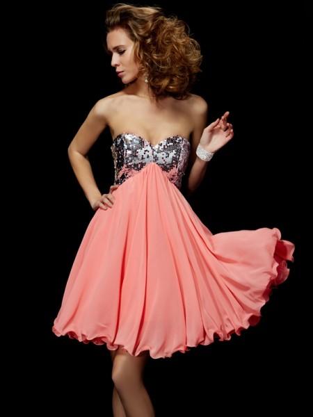 Corte en A/Princesa Escote de Corazón Sin Mangas Abalorios Corto Gasa Vestidos