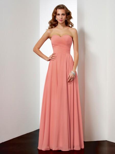 Corte en A/Princesa Sin Mangas Escote de Corazón Plisado Largo Gasa Vestidos