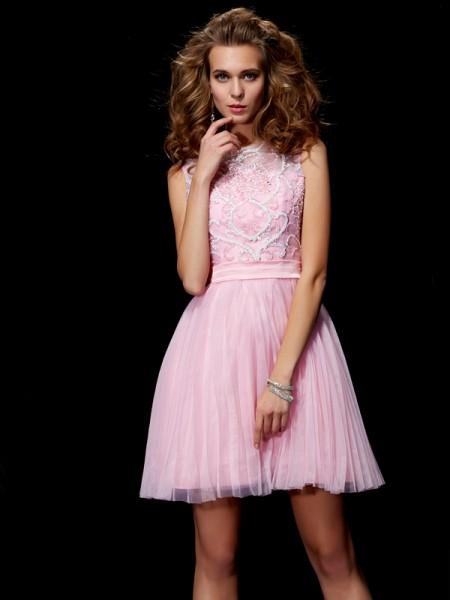 Corte en A/Princesa Escote en U Abalorios Corto Satén Elástico Vestidos