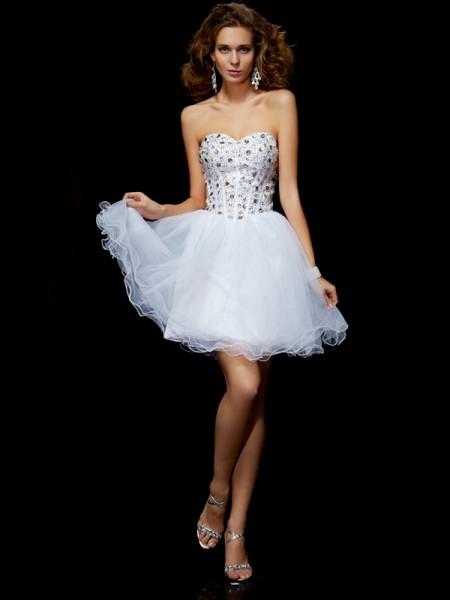 Ajustado/Tipo Columna Escote de Corazón Sin Mangas Cristales Corto Satén Elástico Vestidos