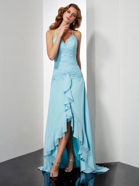 Corte en A/Princesa Tirantes Espagueti Sin Mangas Abalorios Cristales Asimétrico Gasa Vestidos