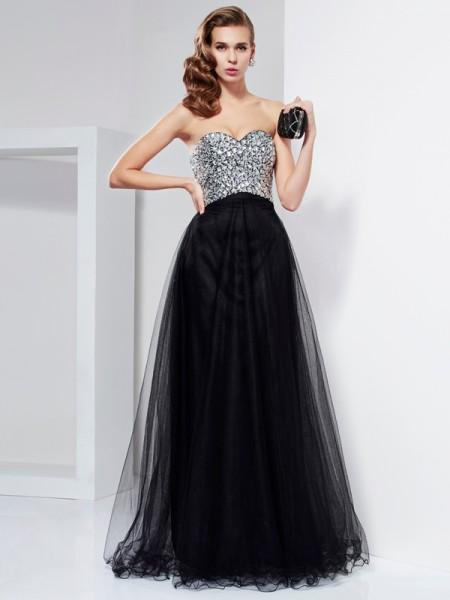 Corte en A/Princesa Escote de Corazón Sin Mangas Abalorios Cristales Largo Satén Elástico Vestidos