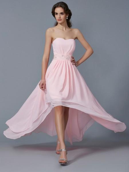 Corte en A/Princesa Escote de Corazón Sin Mangas Abalorios Asimétrico Gasa Vestidos