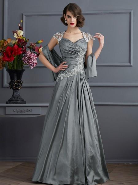 Corte en A/Princesa Escote de Corazón Manga Corta Abalorios Largo Taffeta Vestidos