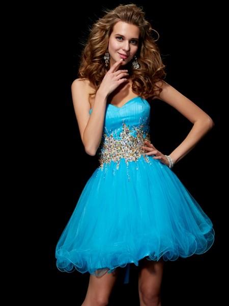 Corte en A/Princesa Escote de Corazón Sin Mangas Abalorios Corto Malla Vestidos