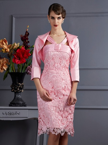 Ajustado/Tipo Columna Escote Halter Sin Mangas Encaje Corto Satén Elástico Vestidos para Madrinas