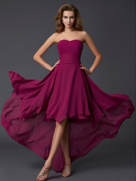 Corte en A/Princesa Escote de Corazón Sin Mangas Plisado Asimétrico Gasa Vestidos