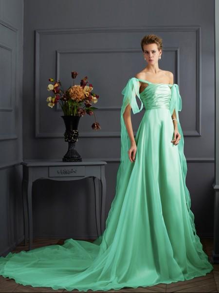 Corte en A/Princesa Hombros Caídos Sin Mangas Largo Taffeta Vestidos