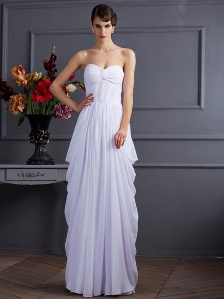 Ajustado/Tipo Columna Escote de Corazón Sin Mangas Plisado Largo Gasa Vestidos