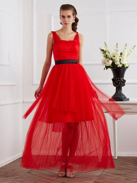 Corte en A/Princesa Tirantes Sin Mangas Plisado Largo Satén Elástico Vestidos
