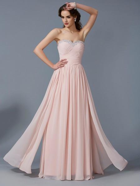 Corte en A/Princesa Escote de Corazón Sin Mangas Plisado Largo Gasa Vestidos