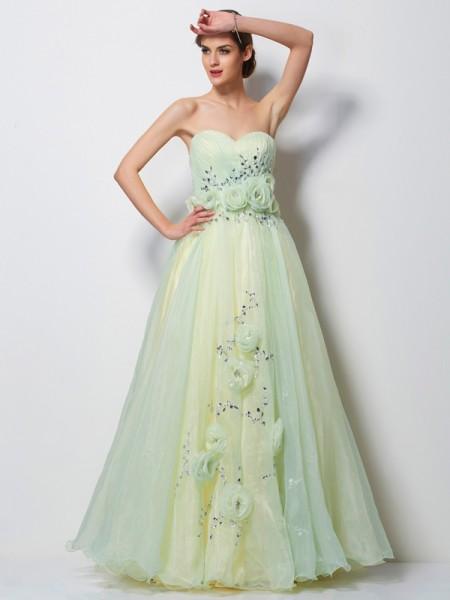 Corte en A/Princesa Escote de Corazón Sin Mangas Flores hechas a mano Largo Satén Vestidos