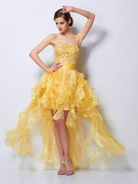 Corte en A/Princesa Escote de Corazón Sin Mangas Abalorios Asimétrico Tul Vestidos