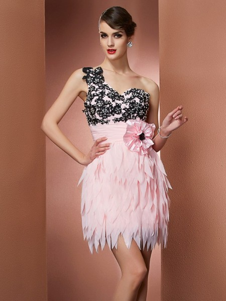Corte en A/Princesa Un solo Hombro Sin Mangas Flores hechas a mano Corto Gasa Vestidos