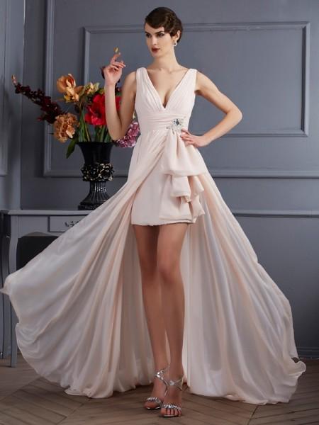 Corte en A/Princesa Tirantes Sin Mangas Abalorios Largo Gasa Vestidos