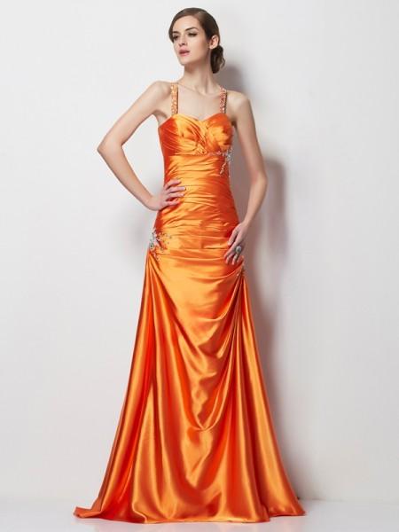 Corte en A/Princesa Tirantes Espagueti Sin Mangas Abalorios Largo Satén Elástico Vestidos