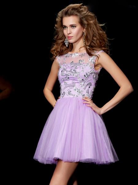 Corte en A/Princesa Escote Barco Manga Corta Abalorios Corto Satén Vestidos