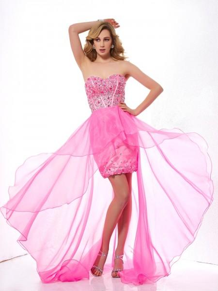 Corte en A/Princesa Escote de Corazón Sin Mangas Abalorios Asimétrico Organza Vestidos