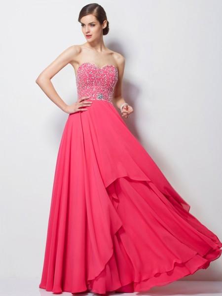 Corte en A/Princesa Escote de Corazón Sin Mangas Abalorios Largo Gasa Vestidos