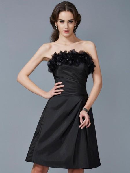 Ajustado/Tipo Columna Sin Tirantes Sin Mangas Flores hechas a mano Corto Taffeta Vestidos de dama de honor