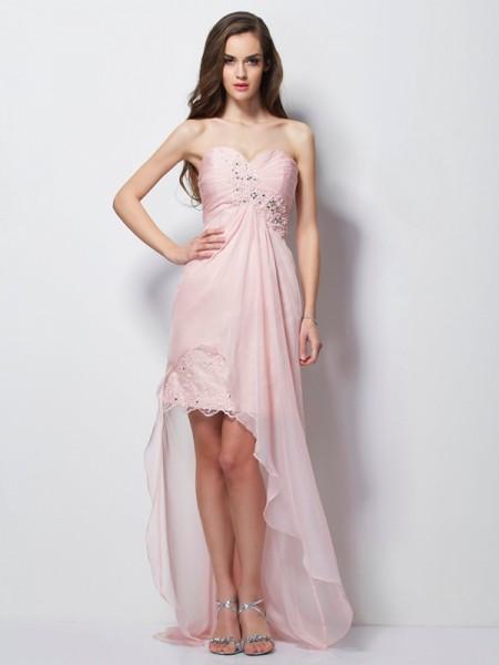 Corte en A/Princesa Escote de Corazón Sin Mangas Abalorios Apliques Asimétrico Gasa Vestidos