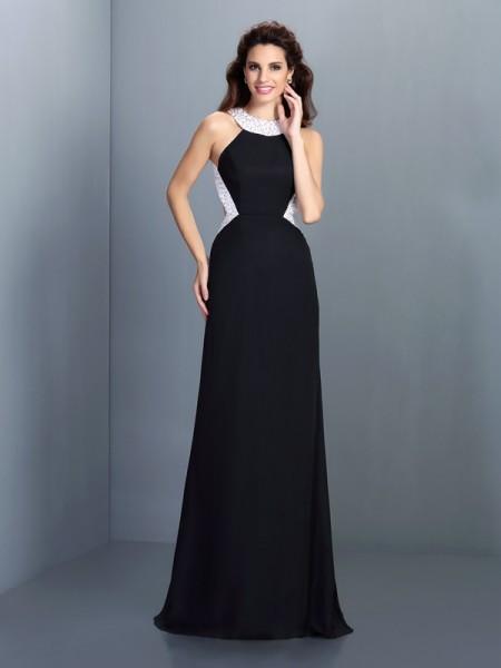 Corte en A/Princesa Escote Alto Abalorios Sin Mangas Largo Gasa Vestidos