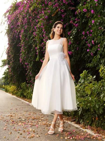Corte en A/Princesa Escote Barco Fajas/Lazos/Cinturones Sin Mangas Largo Satén Vestidos de Novia