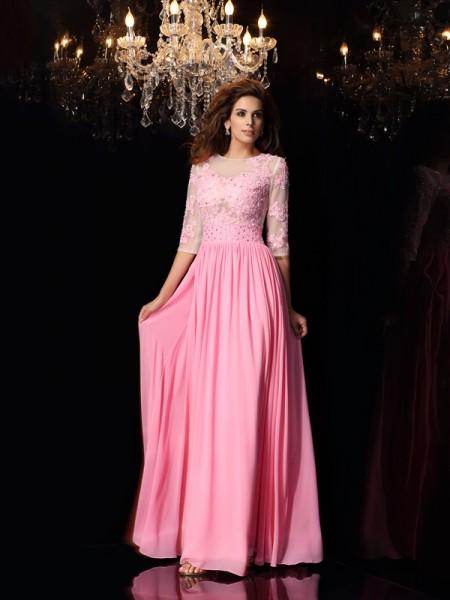 Corte en A/Princesa Escote en U Apliques Media Manga Largo Satén imitación Seda Vestidos