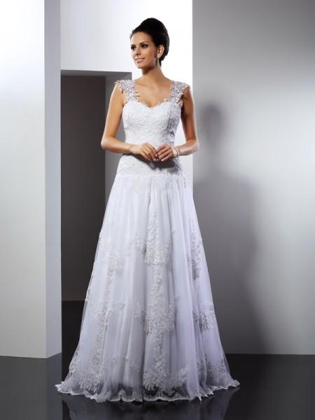 Corte en A/Princesa Tirantes Apliques Sin Mangas Largo Encaje Vestidos de Novia