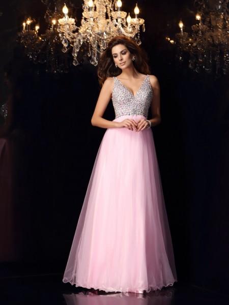 Corte en A/Princesa Escote en V Volantes Sin Mangas Largo Satén Elástico Vestidos