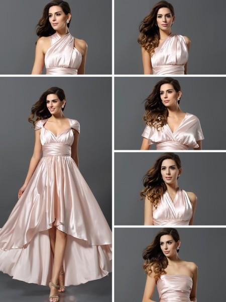 Ajustado/Tipo Columna Sin Mangas Asimétrico Satén imitación Seda Vestidos de dama de honor